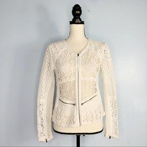 Yoana Baraschi Ivory Crochet Open Knit Blazer